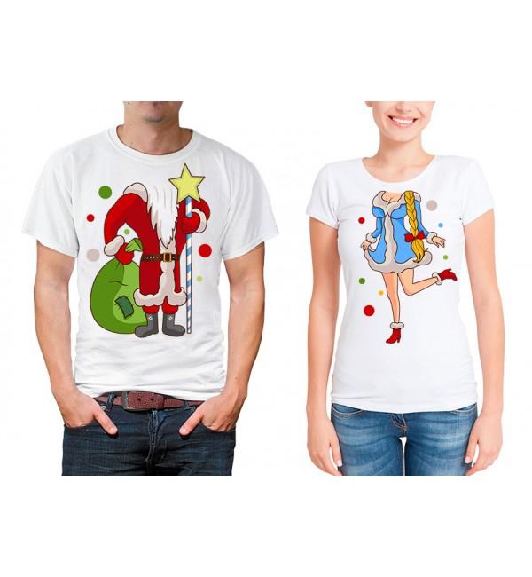 Парные футболки для двоих Дед мороз и снегурочка