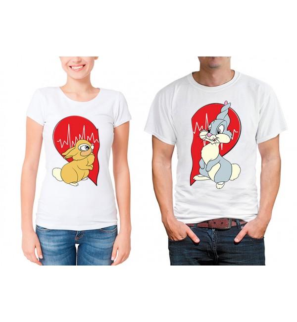 Парные футболки для двоих Зайка и зайчик