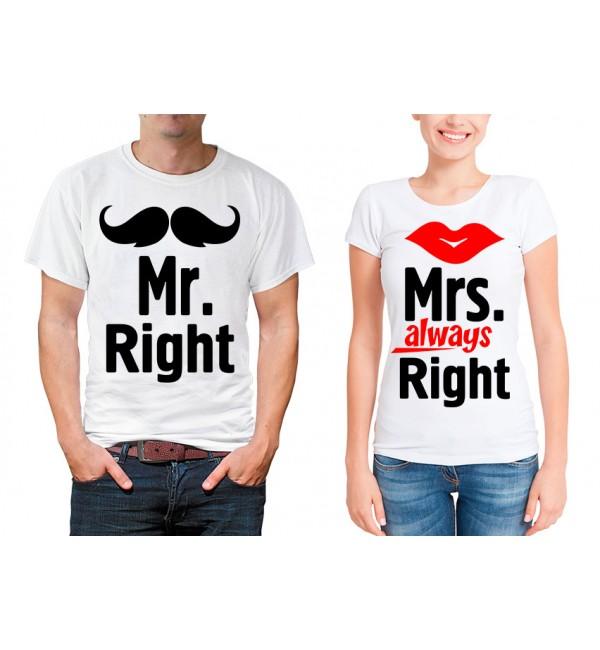 Парные футболки для двоих Mr.Right Mrs.Right
