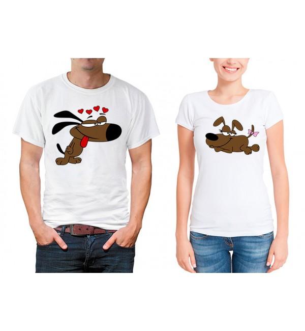 Парные футболки для двоих Влюбленные собачки