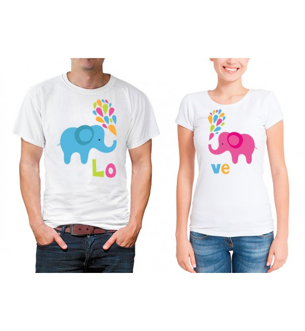 Парные футболки для двоих Слоники