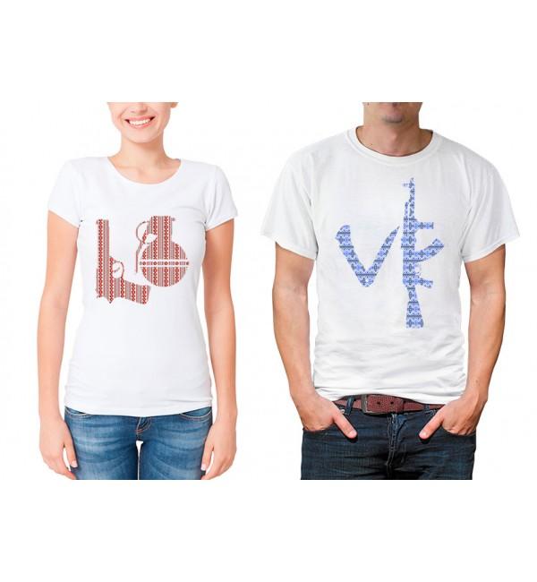 Парные футболки для двоих Милитари