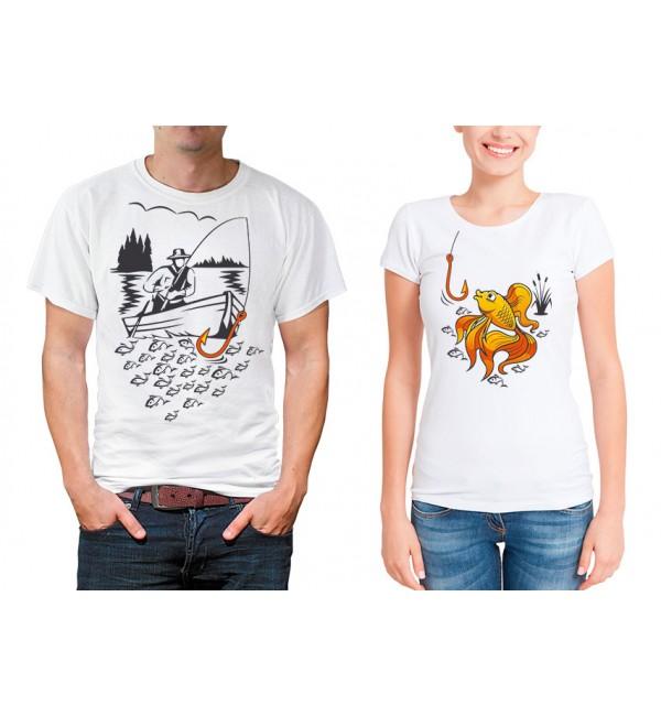 Парные футболки для двоих Рыбак и рыбка