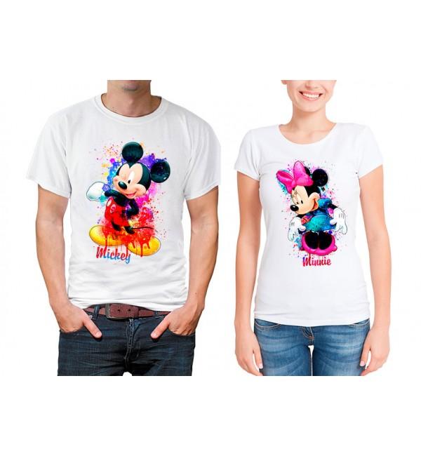 Парные футболки Микки и мини акварель