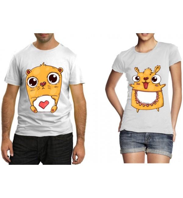 Парные футболки Влюбленные кот и кошка