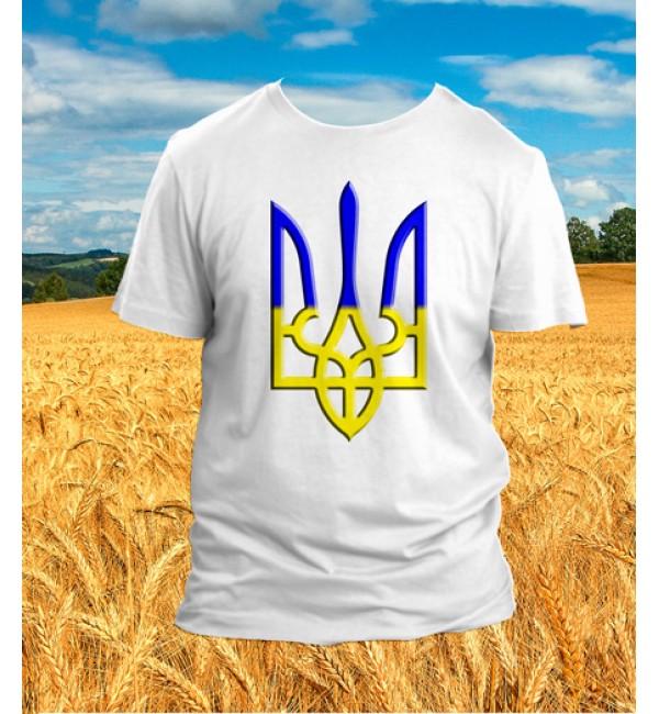 Патриотическая футболка Трезубец сине-желтый