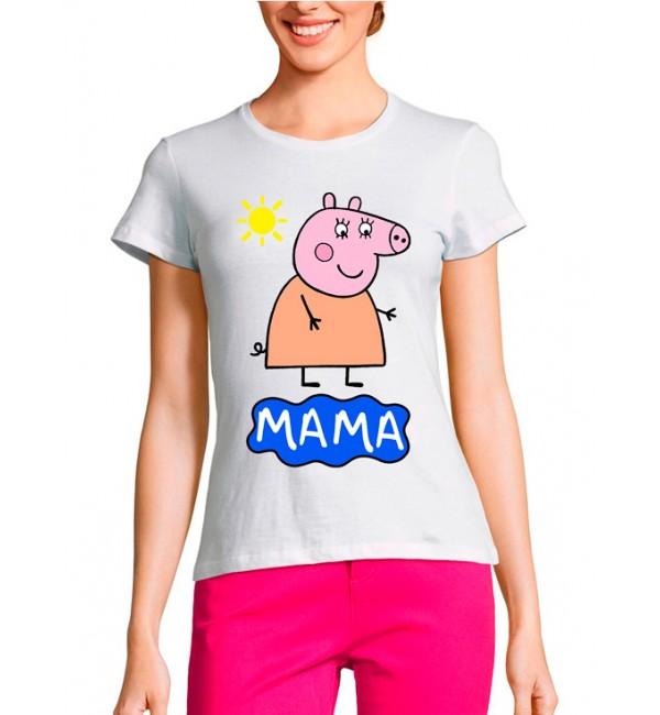 Женская футболка Мама свинка