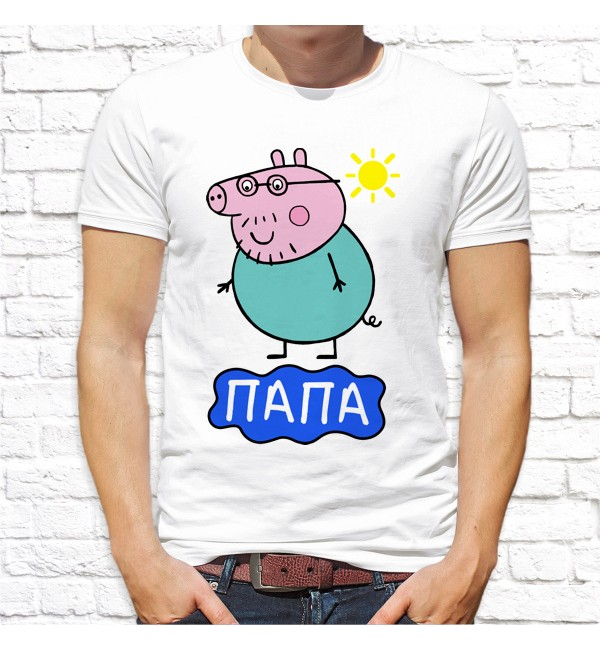 Мужская футболка Папа свин