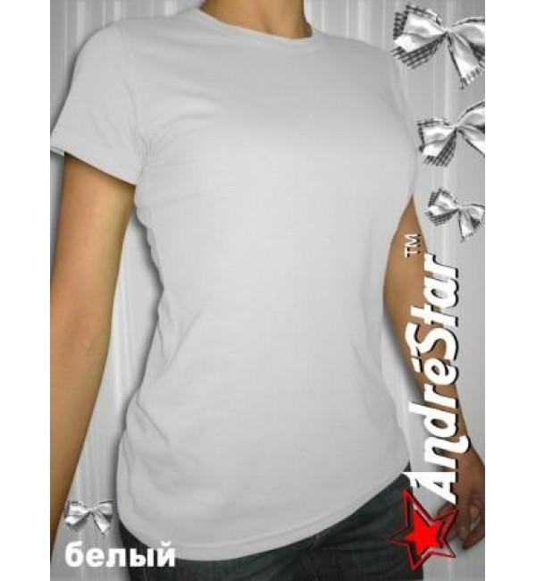 Женская белая футболка с круглым воротом