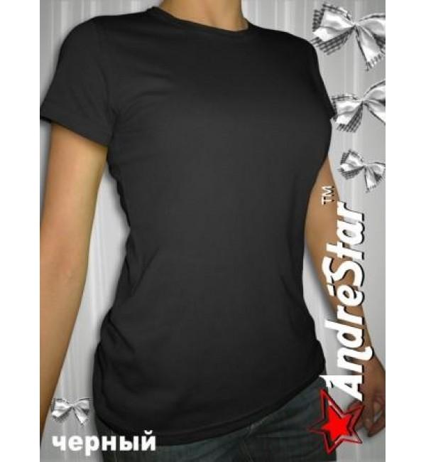 Черная женская футболка с круглым воротом