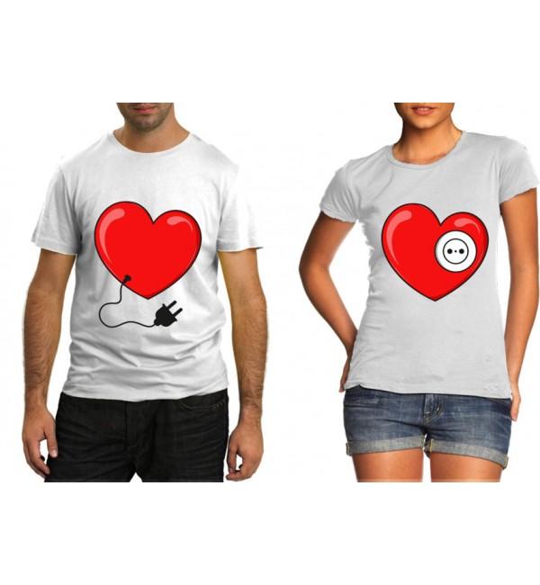 Парные футболки Сердце вилка и розетка